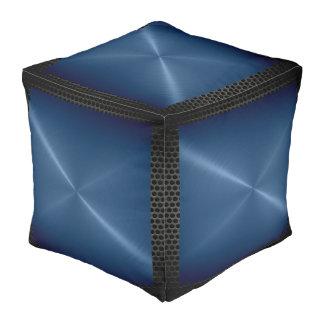 Dark Blue Stainless Steel Modern Metal Border Pouf