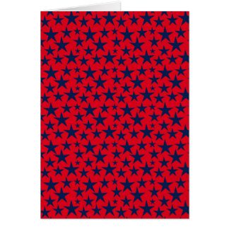 Dark blue stars on red background greeting card