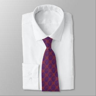 Dark blue striped circle pattern on burgundy red tie