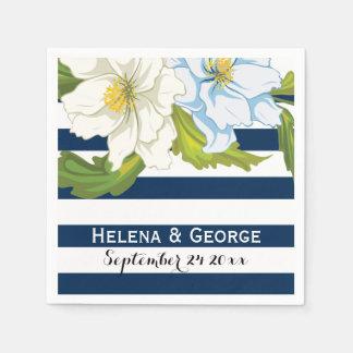 Dark blue stripes & flowers modern floral wedding disposable napkin