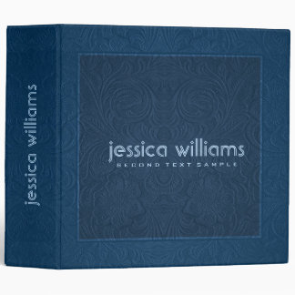 Dark Blue Suede Leather Floral Pattern 3 Ring Binders