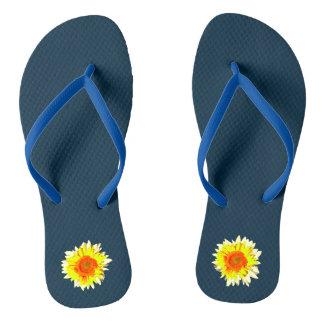 Dark Blue Sunflower on Flip Flops