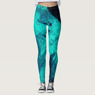 Dark Blue Teal Abstract Pattern Leggings