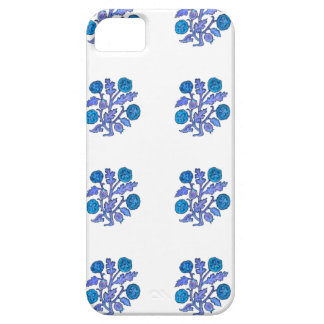 Dark Blue Vintage Embroidery Style Flowers iPhone 5 Cases