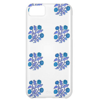 Dark Blue Vintage Embroidery Style Flowers iPhone 5C Case