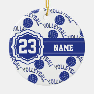 Dark Blue Volleyball Ceramic Ornament
