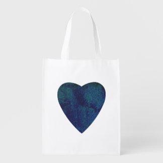 Dark Blue Watercolor Heart Reusable Grocery Bag