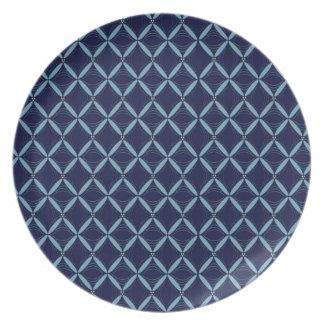 Dark Blue Web Melamine Party Plates