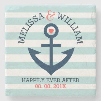 Dark Blue Wedding Nautical Anchor Mint Stripes Stone Coaster