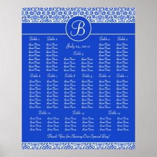 Dark Blue Wedding Reception Seating Chart Poster