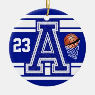 Dark Blue & White Basketball All Varsity Letters Round Ceramic Ornament