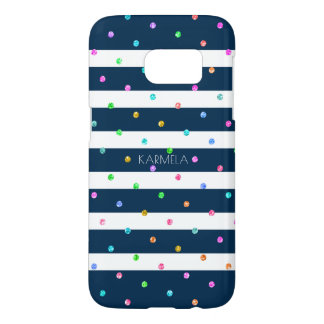Dark-Blue & White & Colorful Dots Pattern Samsung Galaxy S7 Case