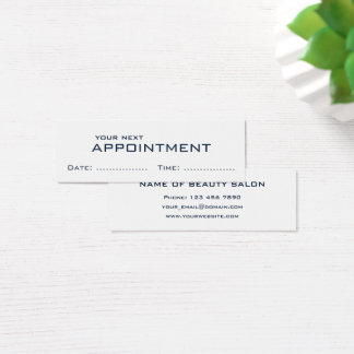 Dark Blue White minimalist modern Appointment Card
