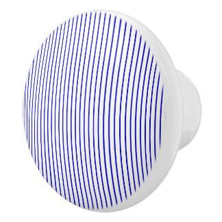 Dark Blue White Pinstripe Ceramic Knob