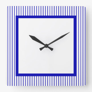 Dark Blue White Pinstripe Square Wall Clock