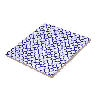 Dark Blue White Quatrefoil Ceramic Tiles