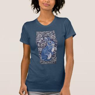Dark Blue & White Standing Rabbit Floral T Shirt