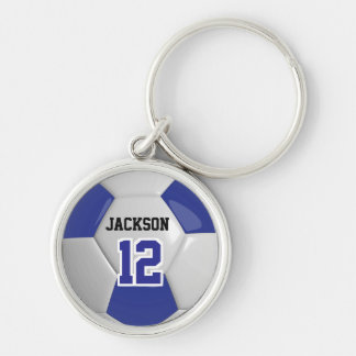 Dark Blue & White Team Soccer Ball Keychain