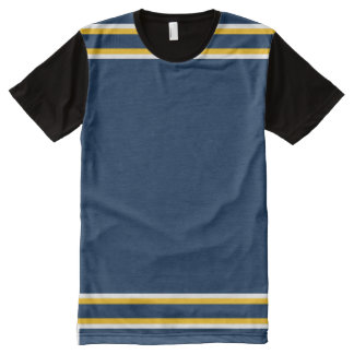 Dark Blue with White and Gold Trim