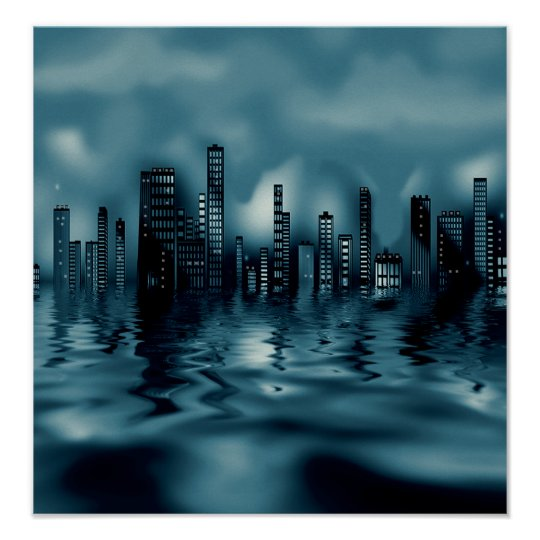 Dark Blues Cityscape with Reflections in Water Poster