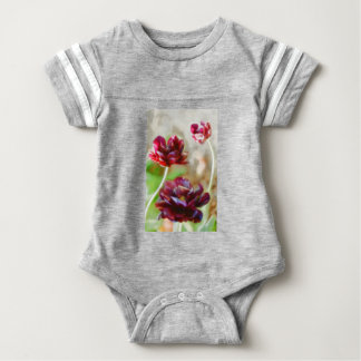 Dark Bordeaux Peony Flowering Tulip Trio Baby Bodysuit