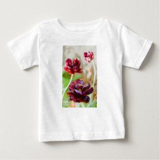 Dark Bordeaux Peony Flowering Tulip Trio Baby T-Shirt