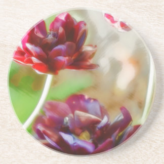 Dark Bordeaux Peony Flowering Tulip Trio Beverage Coasters