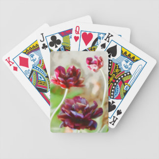Dark Bordeaux Peony Flowering Tulip Trio Bicycle Playing Cards