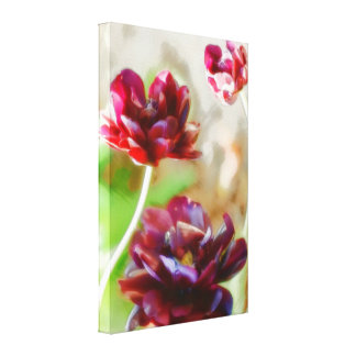 Dark Bordeaux Peony Flowering Tulip Trio Canvas Print
