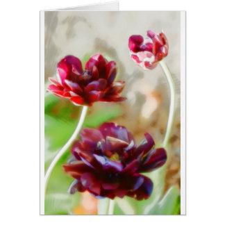 Dark Bordeaux Peony Flowering Tulip Trio Card