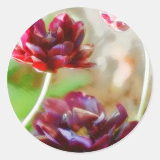 Dark Bordeaux Peony Flowering Tulip Trio Classic Round Sticker