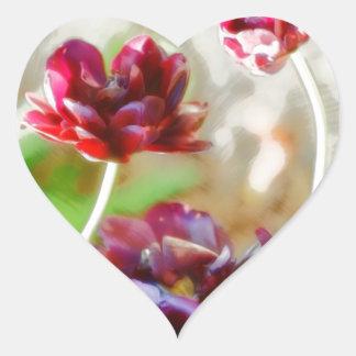 Dark Bordeaux Peony Flowering Tulip Trio Heart Sticker