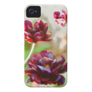 Dark Bordeaux Peony Flowering Tulip Trio iPhone 4 Case