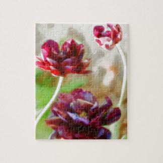 Dark Bordeaux Peony Flowering Tulip Trio Jigsaw Puzzle