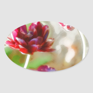 Dark Bordeaux Peony Flowering Tulip Trio Oval Sticker