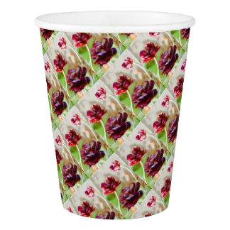 Dark Bordeaux Peony Flowering Tulip Trio Paper Cup