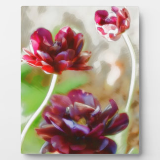 Dark Bordeaux Peony Flowering Tulip Trio Plaque