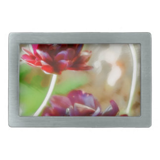 Dark Bordeaux Peony Flowering Tulip Trio Rectangular Belt Buckle