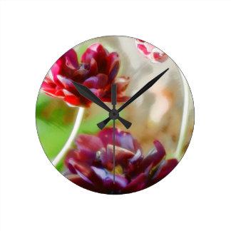 Dark Bordeaux Peony Flowering Tulip Trio Round Clock