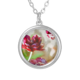 Dark Bordeaux Peony Flowering Tulip Trio Silver Plated Necklace