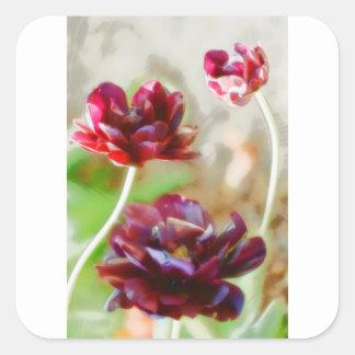 Dark Bordeaux Peony Flowering Tulip Trio Square Sticker
