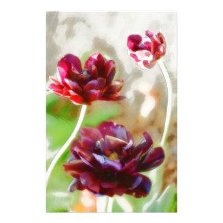 Dark Bordeaux Peony Flowering Tulip Trio Stationery