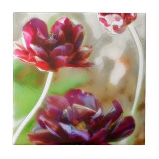 Dark Bordeaux Peony Flowering Tulip Trio Tile