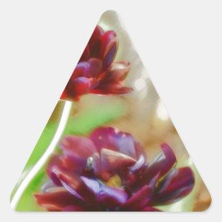 Dark Bordeaux Peony Flowering Tulip Trio Triangle Sticker