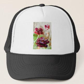 Dark Bordeaux Peony Flowering Tulip Trio Trucker Hat
