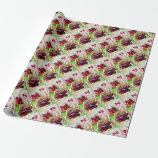 Dark Bordeaux Peony Flowering Tulip Trio Wrapping Paper