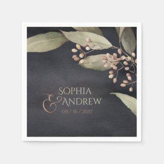 Dark botanical greenery vintage rustic wedding disposable napkins