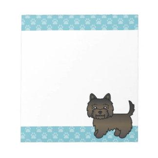 Dark Brindle Cairn Terrier Cartoon Dog Notepad