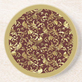 Dark Brown And Gold Vintage Damasks Drink Coasters