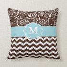 Dark Brown and Light Blue Chevron Monogram Throw Pillow